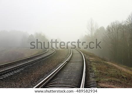 Railroad track during autumn foggy morning in the forest