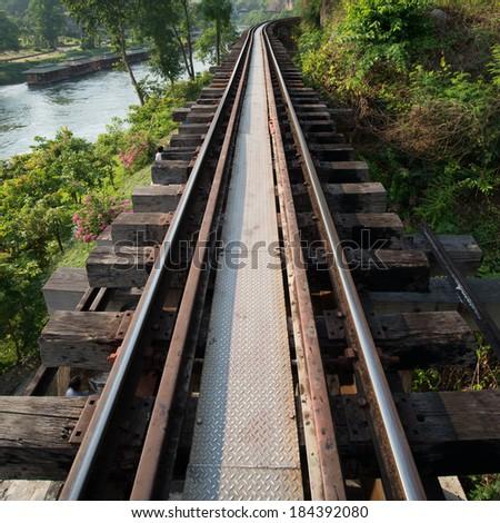 Railroad track on River Kwai Saiyok, rail, track, railway. - stock photo