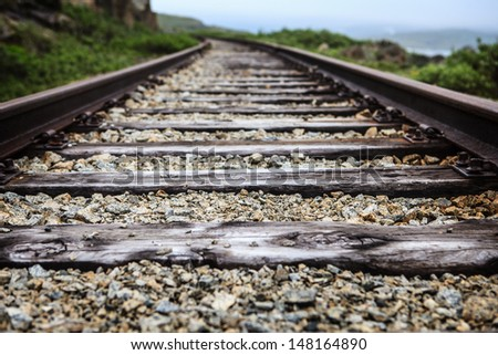 Railroad track Oslo-Bergen - stock photo
