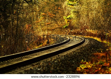 railroad track winding through forest - stock photo