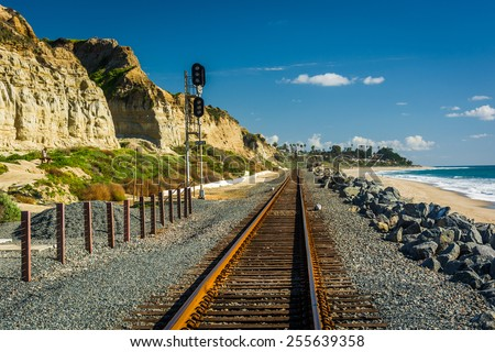 Railroad tracks along the beach in San Clemente, California. - stock photo
