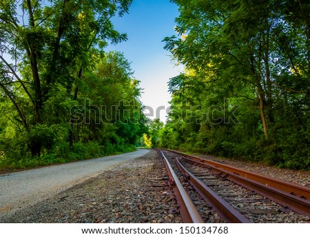 Railroad tracks along the Northern Central Railroad trail in York County, PA. - stock photo