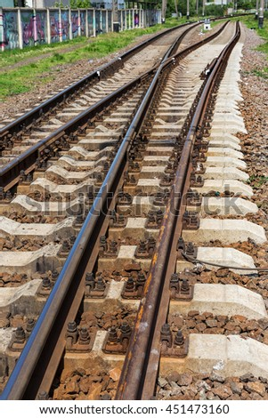 Railroad tracks an old worn and require urgent repair of the railway. road rail lines