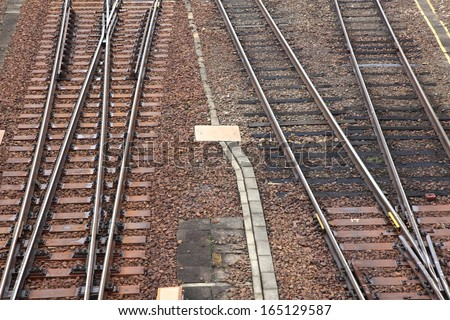 Railroad tracks at a train station