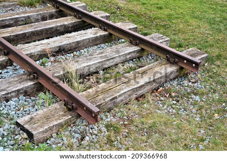Railroad tracks at the Port of Magdeburg, Germany - stock photo