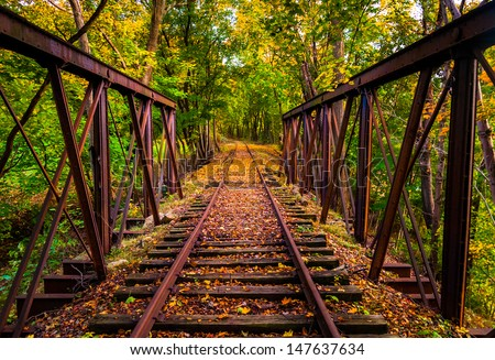 Railroad tracks covered in autumn leaves, near Stewartstown, Pennsylvania. - stock photo