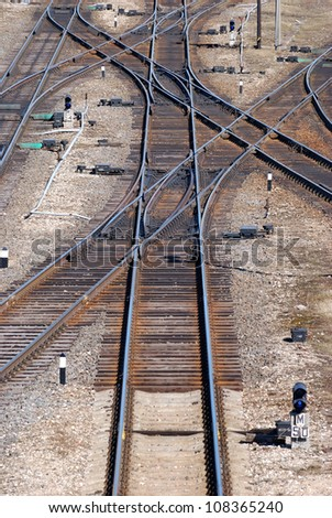 Railroad tracks, crossroads and intersection - stock photo