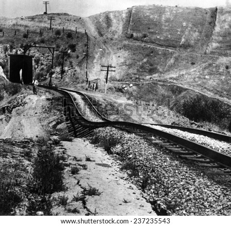 Railroad tracks Dam aged by an earthquake Tehachapi California was hit by a magnitude 7.3 Richter scale earthquake on White Wolf Fault in Kern County. July 21, 1952.