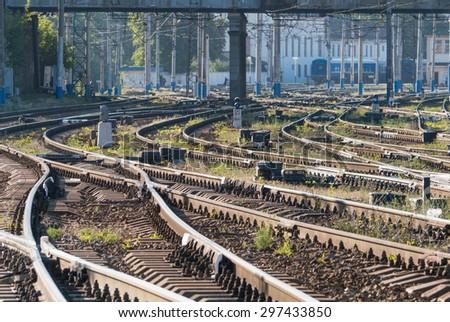 Railroad tracks early morning - stock photo