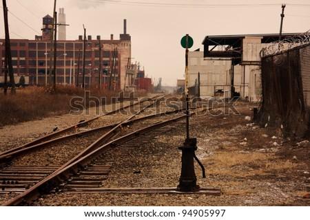 Railroad tracks in Detroit, Michigan - stock photo