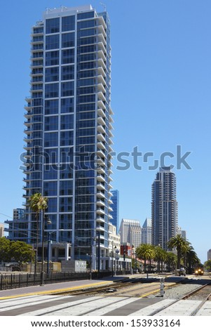 Railroad tracks in downtown San Diego, California, USA - stock photo