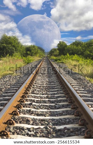 railroad tracks in moon  - stock photo