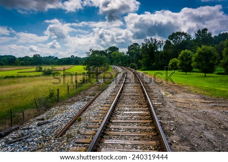 Railroad tracks in rural Carroll County, Maryland.