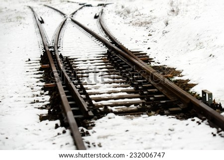 Railroad tracks in the snow at winter