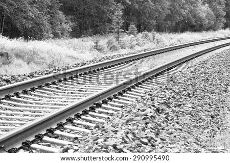 Railroad tracks in the summer time. Birch forest is surrounding the tracks. Image has a vintage effect.