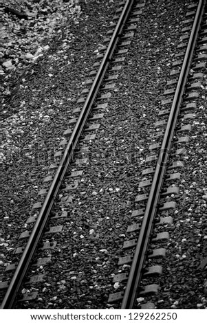Railroad tracks. Rail way. Top view.