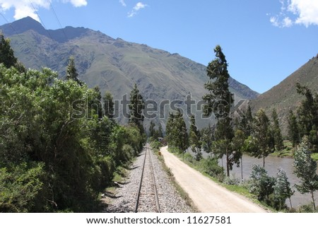 Railroad Tracks through the Andes Mountains in Peru, between Cusco and Machu Picchu