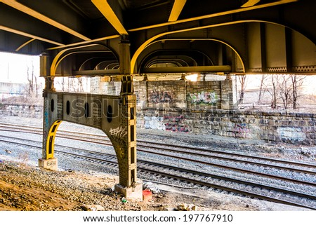 Railroad tracks under the Howard Street Bridge in Baltimore, Maryland.