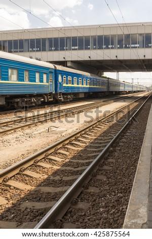 Railroad, train on the way - stock photo