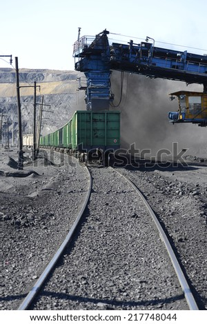 Railroad, trains, transport, mining, shipping, digging, mining, mine, quarry, mechanism, black gold, coal, enterprise. incision, technology