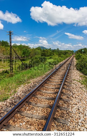 Railroad transport with blue sky background