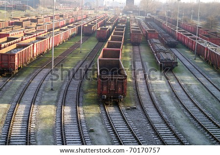 Railroad with trains - stock photo