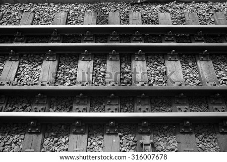 rails and train track - stock photo