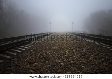 Rails leading in fog