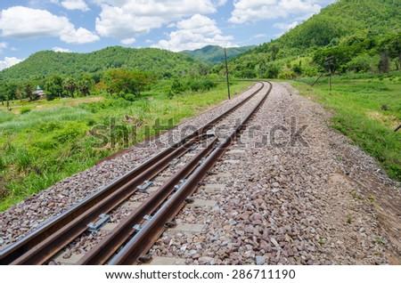 railway and blue sky - stock photo