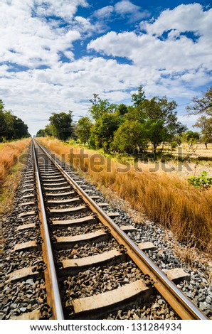 Railway and blue sky in the countryside in Thailand