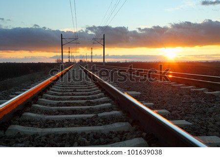 Railway at dusk - stock photo