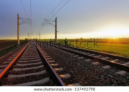 Railway at dusk - stock photo