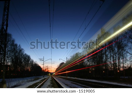 Railway at night - stock photo