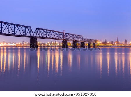 Railway bridge in Kiev at night. Ukraine.