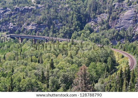 Railway bridge near Marathon - Ontario, Canada - stock photo