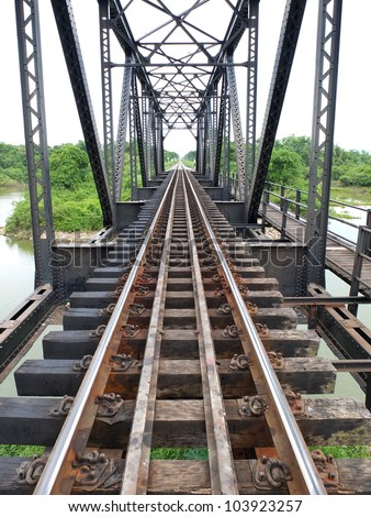 Railway Bridge over the River at Nakornsawan, Thailand.