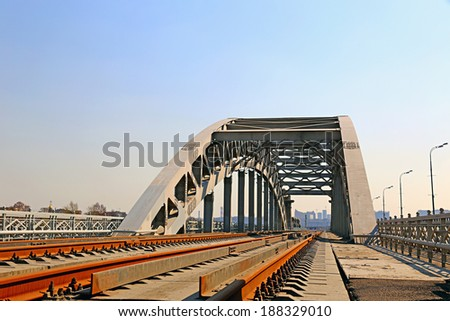 Railway bridge with steel spans in Moscow - stock photo