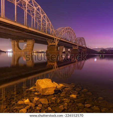 Railway Bridgeat night. Ukraine. Kiev. - stock photo