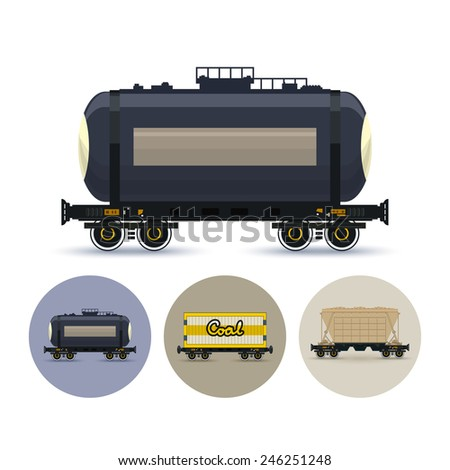 Railway car the tank for transportation of liquid and loose freights. Set of three round colorful icons , icon  railway car the tank, icon railway wagon , icon hopper car for mass transit bulk cargo - stock photo