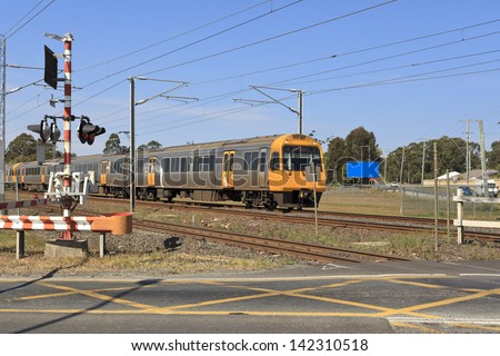 Railway crossing in Brisbane - stock photo