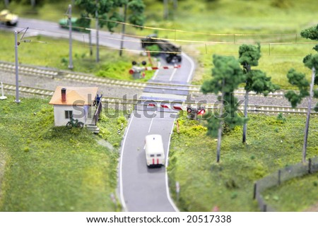Railway crossing miniature - stock photo