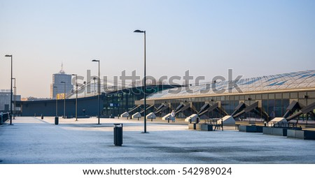 "Railway Fabryczna. Lodz, Poland - December 17, 2016: New multi-modal railway called ""Lodz Fabryczna"". The new three-level station will be a key element of the New Center of Lodz"