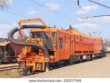 Railway heavy duty machines train on the station, Bucha, Ukraine - stock photo