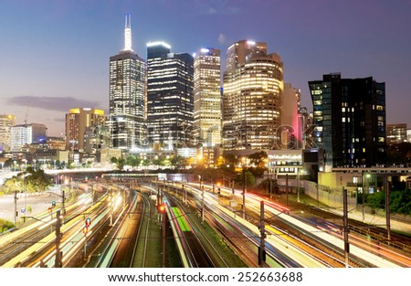 Railway in Melbourne at night, multiple exposure - stock photo