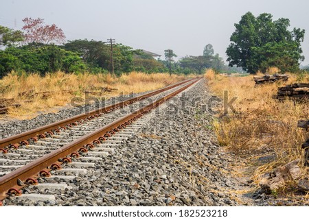 Railway in sunny hot days. - stock photo