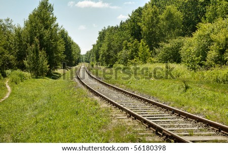 Railway in sunny summer day
