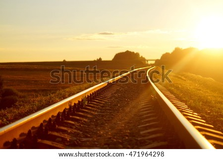 Railway in sunset light