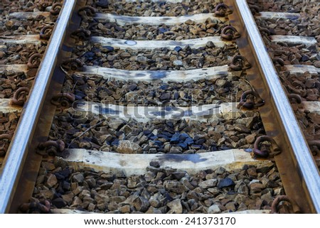 Railway in the day in the countryside in Thailand - stock photo