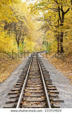 Railway in the forest on a sunny autumn day - stock photo