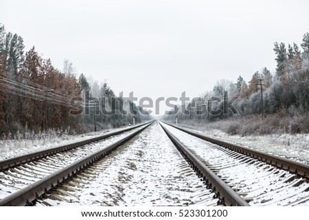 Railway in the winter beautiful forest.